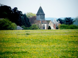 St Mary's Church Silchester with a hare in the foreground