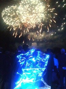 Ice sculpture at Henley Festival with fireworks