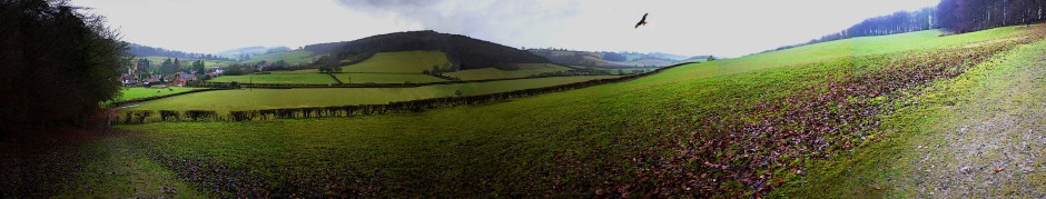 Panaromic view from top of the hill Fingest, Bucklebury
