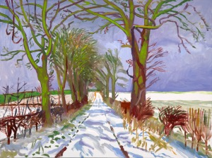 David Hockney Winter Tunnel with Snow, March, 2006 Oil on canvas 91.4 x 121.9 cm Courtesy of the artist © David Hockney    Photo credit: Richard Schmidt