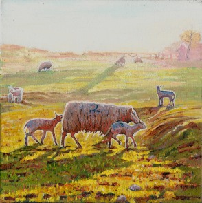 Painting of lambs by Helen White www.helenwhite.org.uk