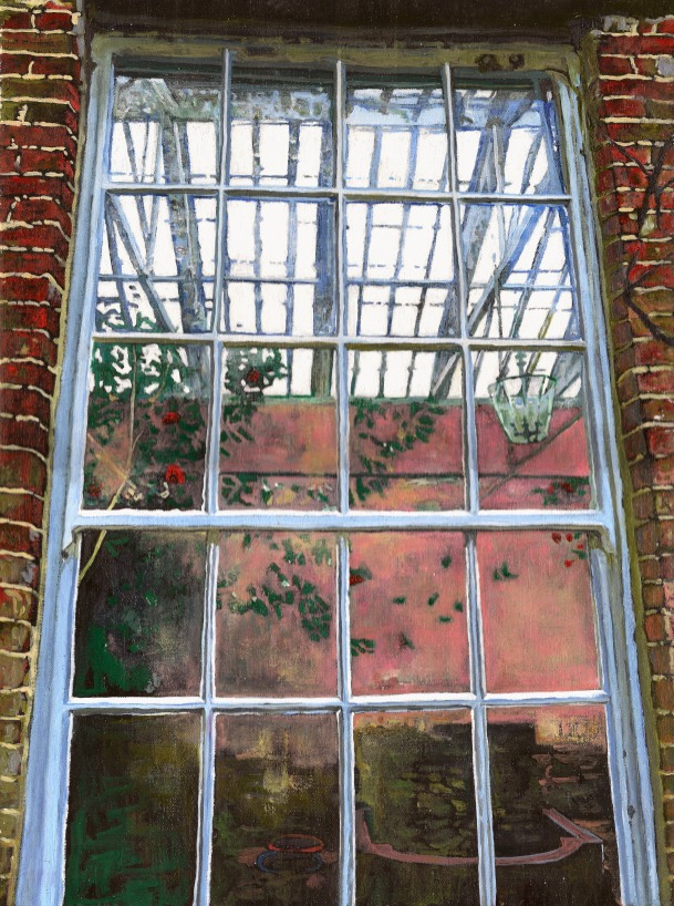 Painting of the orangery, West Green Gardens by Helen White