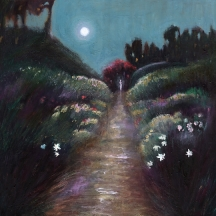 Painting of divine feminine garden in moonlight with a path leading to the goddess