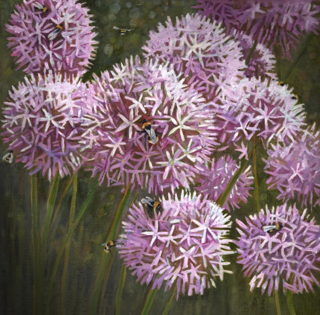 contemporary-oil-painting-bees-alliums-summer-garden-helen-white