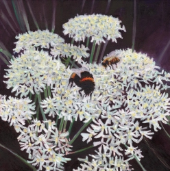 """Inflorescence"" painting of bees and flowers by Helen White"